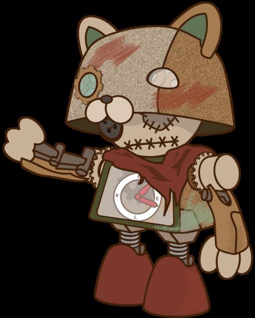立っているネコ型ガラクタ人形