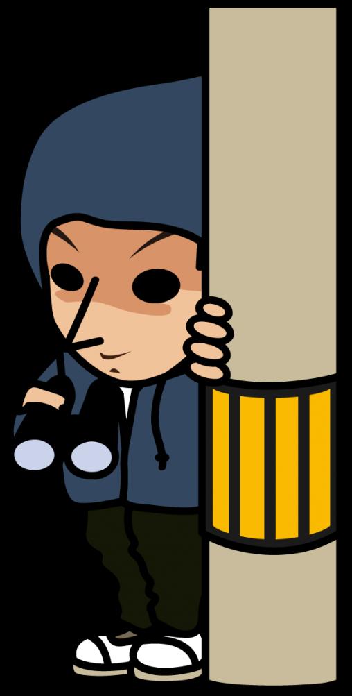 電信柱に隠れてニヤついている不審者「とびぃ」