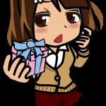 思わせぶりな表情でプレゼントする女の子のイラスト素材「むこりん」