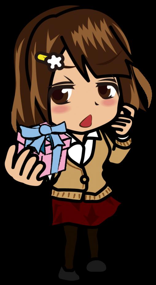思わせぶりな表情でプレゼントする女の子「むこりん」