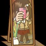 顔を隠して鏡ごしに自撮りしてSNSに投稿する残念系女子大生のイラスト素材「むこりん」