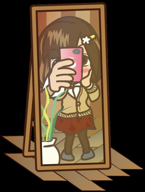 顔を隠して鏡ごしに自撮りしてSNSに投稿する残念系女子大生「むこりん」