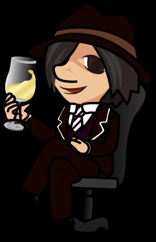 椅子に腰かけワイングラスを片手に持ち不敵な笑みを浮かべるセールスマン「はたさん」