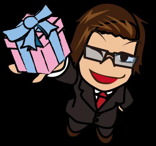 嬉しさのあまりプレゼントゲットだぜぇ!と叫ぶビジネスマン「うりぼぅ」