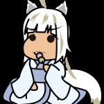 三色団子を食べる白い妖怪系少女のイラスト素材「座敷あらし」