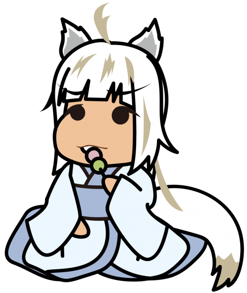 三色団子を食べる白い妖怪系少女「座敷あらし」
