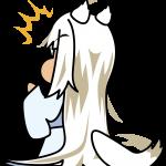 何かに驚く白い妖怪系狐耳少女のイラスト素材「座敷あらし」