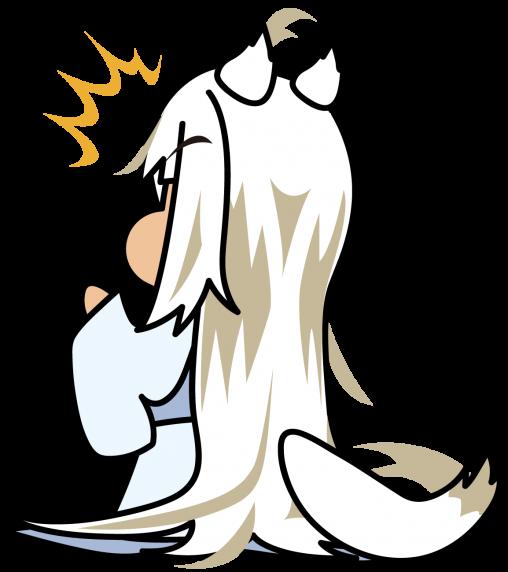 何かに驚く白い妖怪系狐耳少女「座敷あらし」