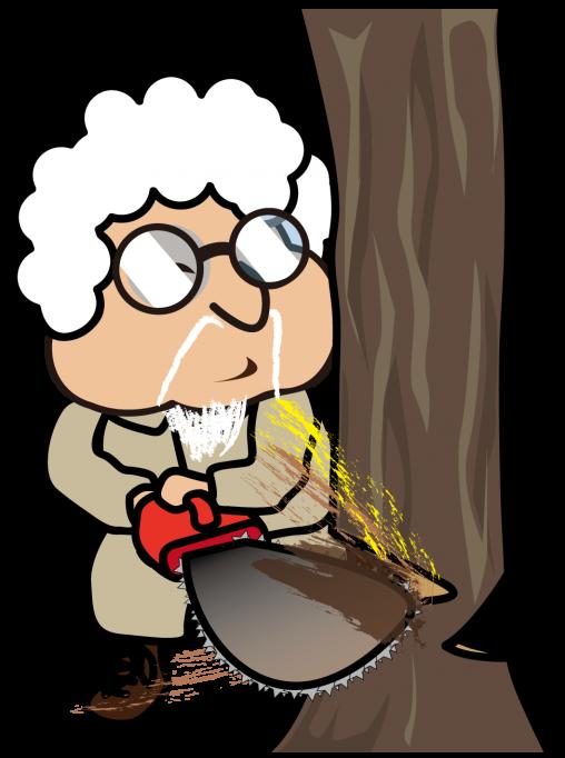 チェーンソーで木を伐採する作業服のおっさん「とっつぁん」