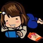 寝っころがってゲームをしながらポテチをむさぼる和服の女の子のイラスト素材「むこりん」