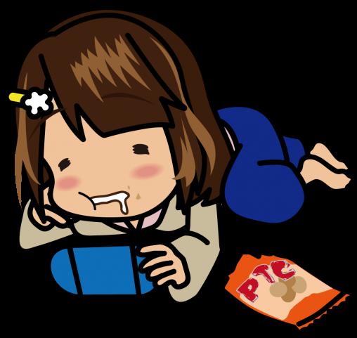 寝っころがってゲームをしながらポテチをむさぼる和服の女の子「むこりん」