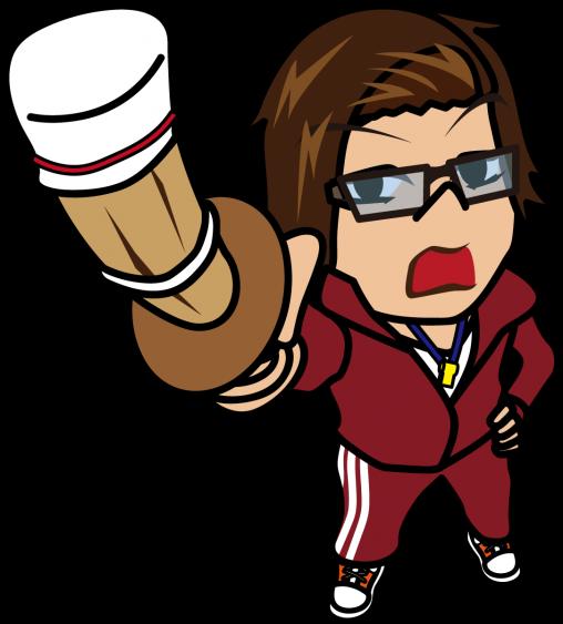 竹刀を持って叫ぶ体育教師「うりぼぅ」