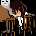 椅子に座った女の子の抜け殻のイラスト素材「あーたむ」