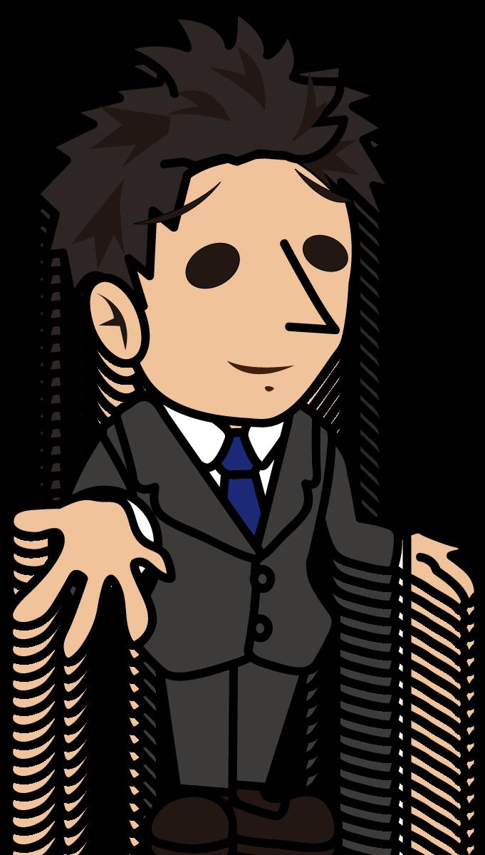 困った顔で説明するビジネスマン「とびぃ」