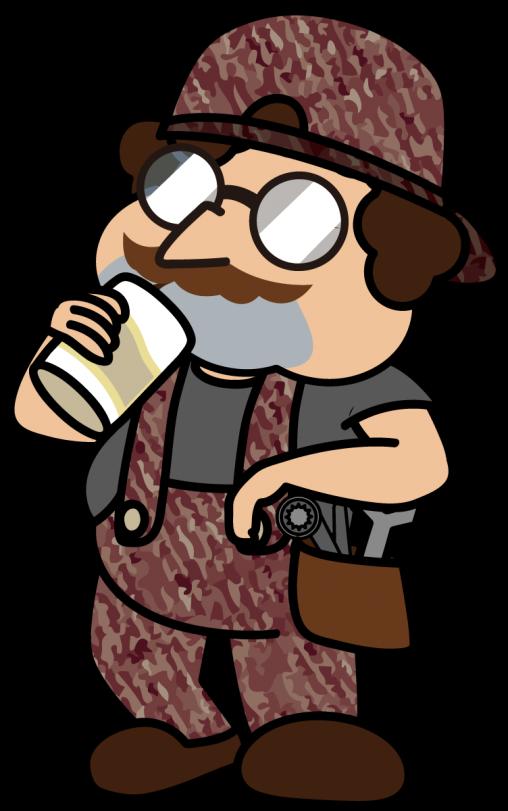 昼間っから缶ビール飲むオヤカタ系配管工「とっつぁん」