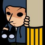 電信柱に隠れてニヤついている不審者のイラスト素材「とびぃ」