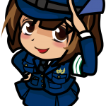 左手で敬礼しちゃった婦人警官のイラスト素材「むこりん」