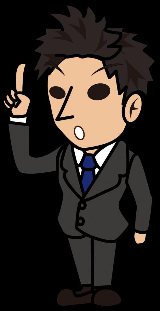 人差し指を立て提案するビジネスマン「とびぃ」