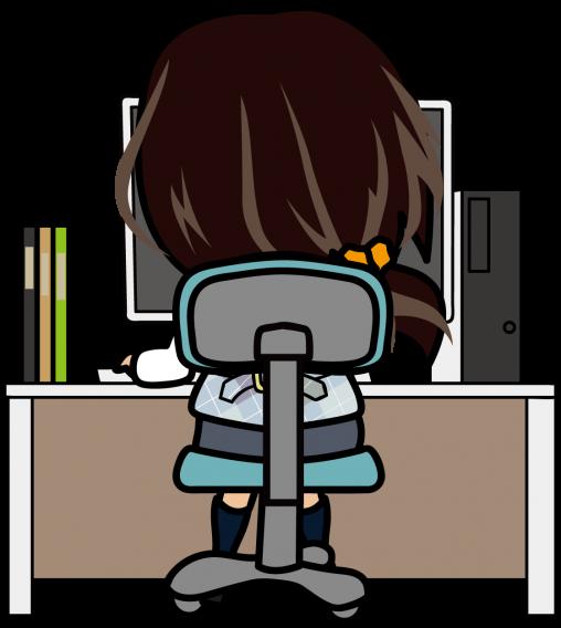 パソコン入力する女性事務員の後ろ姿「あーたむ」