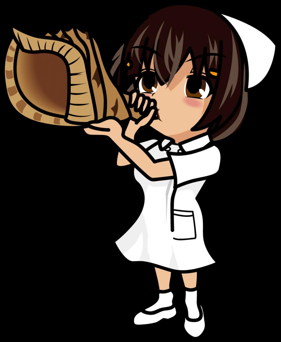 ほら貝を吹く看護師「あーたむ」