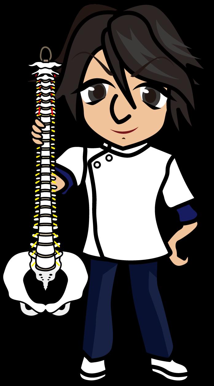 脊柱模型を持った理学療法士「准さん」