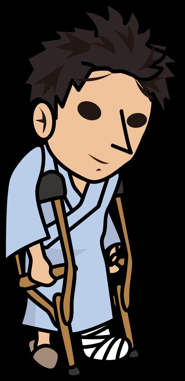 松葉杖を突く怪我人「とびぃ」