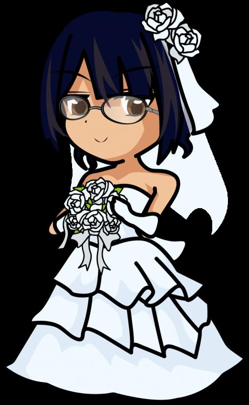 ブーケを持ったウェディングドレスの花嫁「みーたむ」