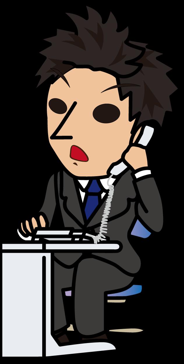 真面目に電話対応するビジネスマン「とびぃ」
