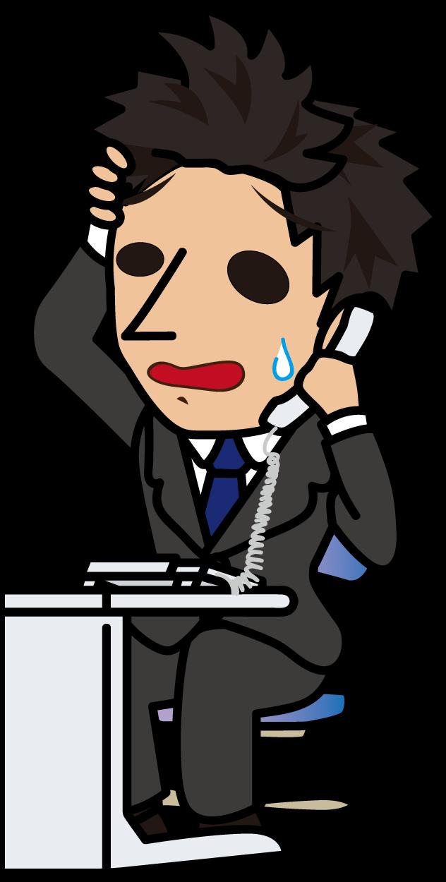 焦りながら電話対応するビジネスマン「とびぃ」