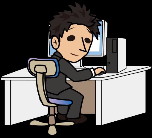 パソコン作業しながら振り向くビジネスマン「とびぃ」