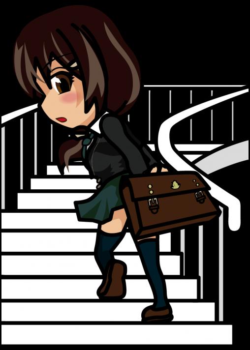 スカートを押さえて階段を昇る女子高生「あーたむ」