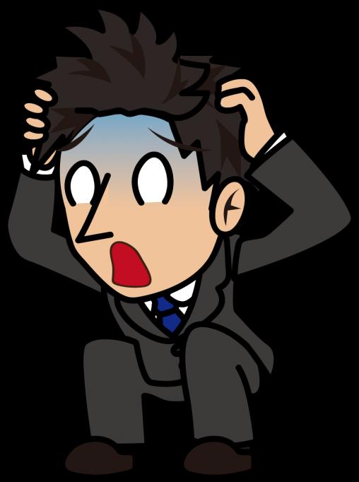 青ざめた顔で頭を抱えるビジネスマン「とびぃ」
