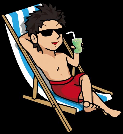 バカンスチェアでジュースを片手にくつろぐ水着の男性「とびぃ」