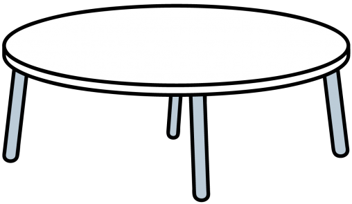 白くて丸いテーブル