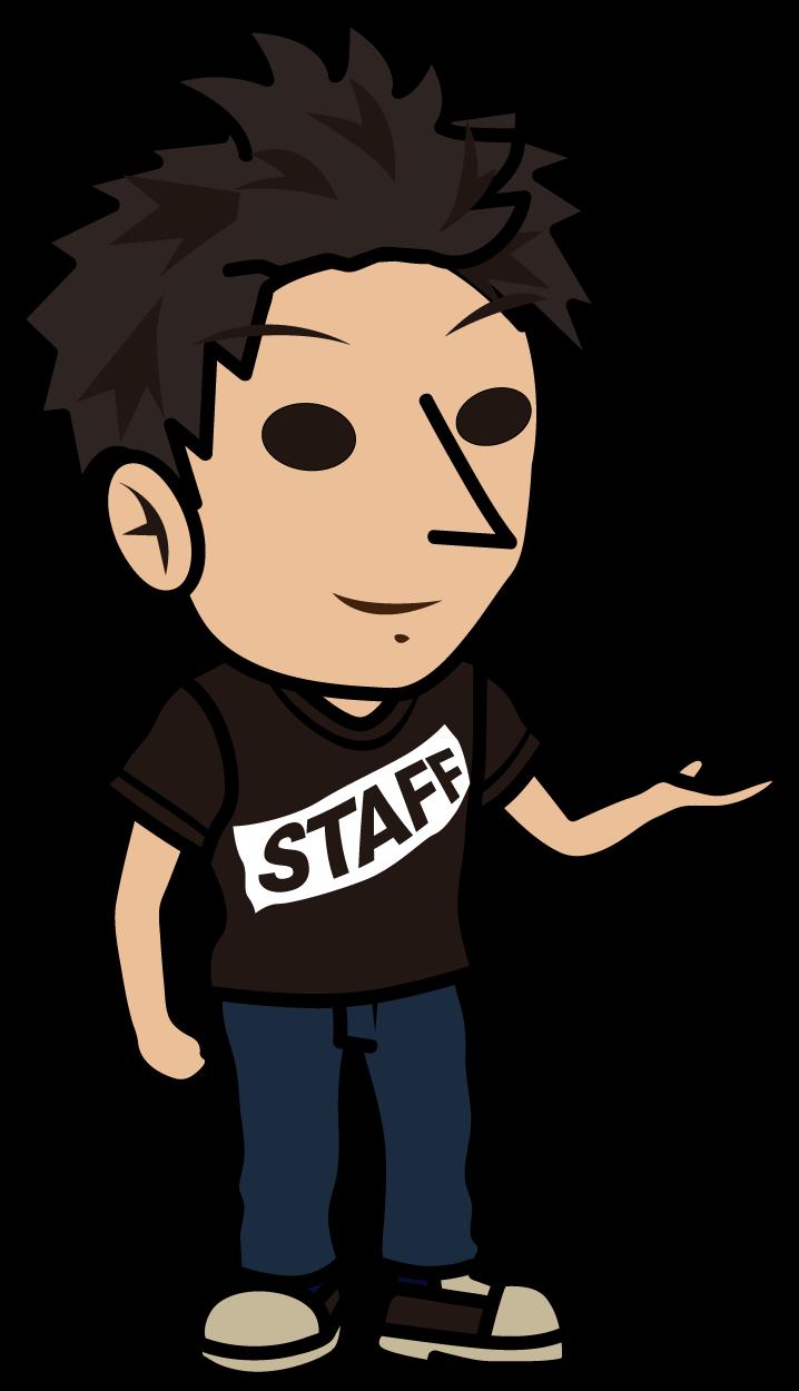 笑顔で案内する黒いスタッフTシャツの男性「とびぃ」