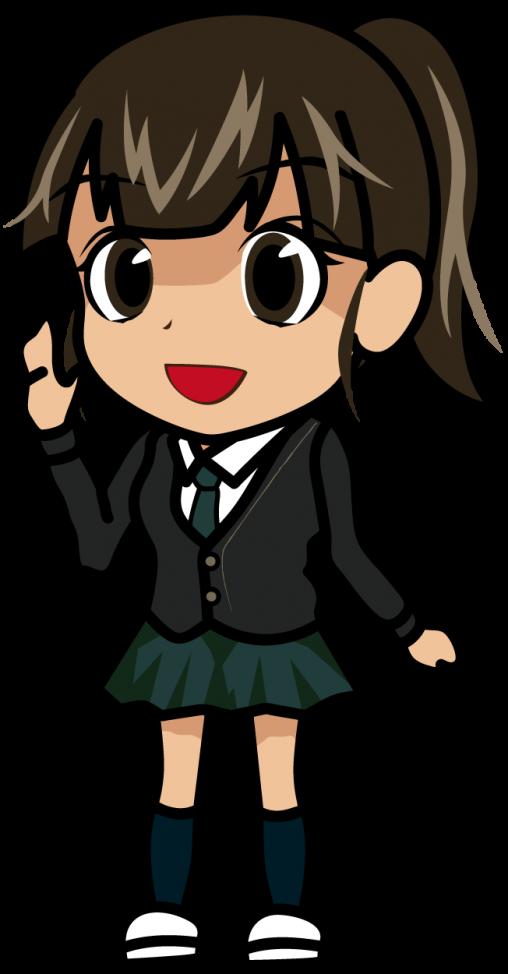 ハーイ!と声をかけてくるポニーテールの女子高生「モブキョン」