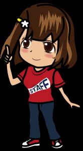 人差し指を立てる赤いスタッフTシャツの女性「むこりん」