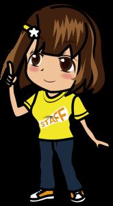 人差し指を立てる黄色いスタッフTシャツの女性「むこりん」