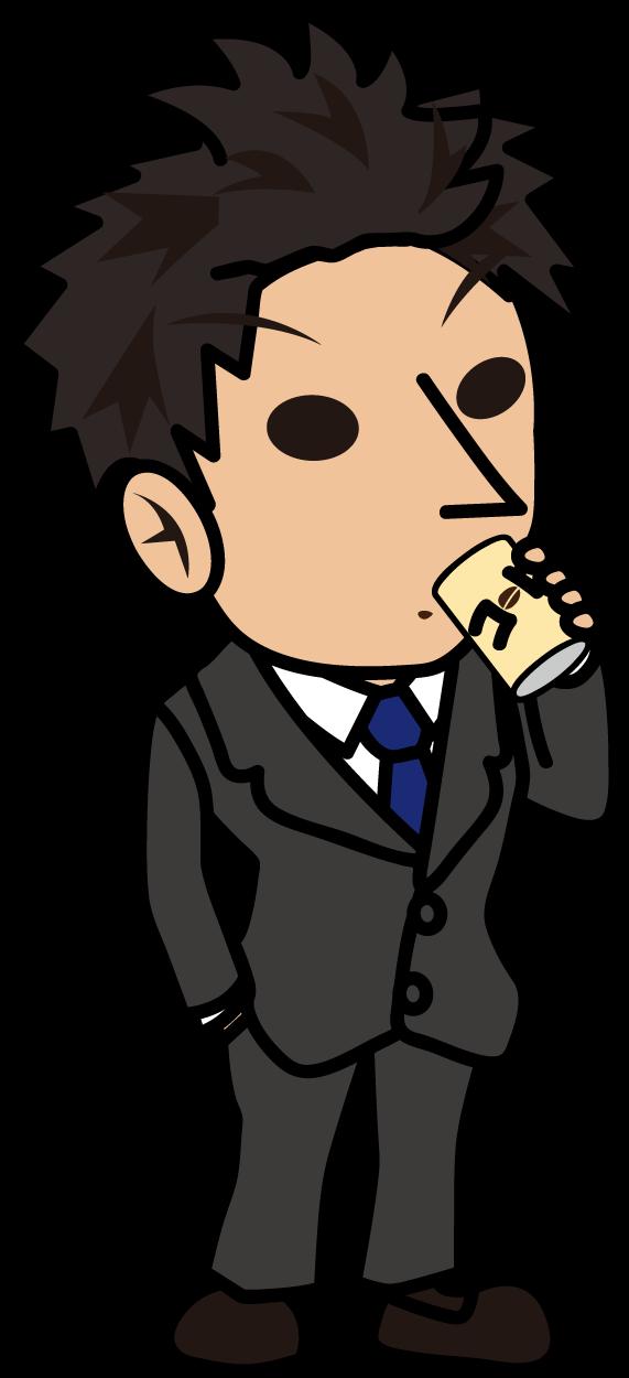 ポケットに手を入れて缶コーヒーを飲むビジネスマン「とびぃ」