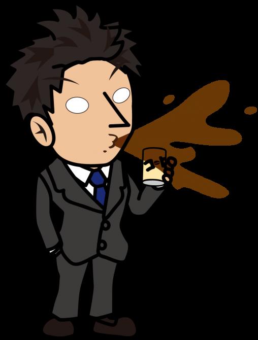 缶コーヒーをふき出すビジネスマン「とびぃ」