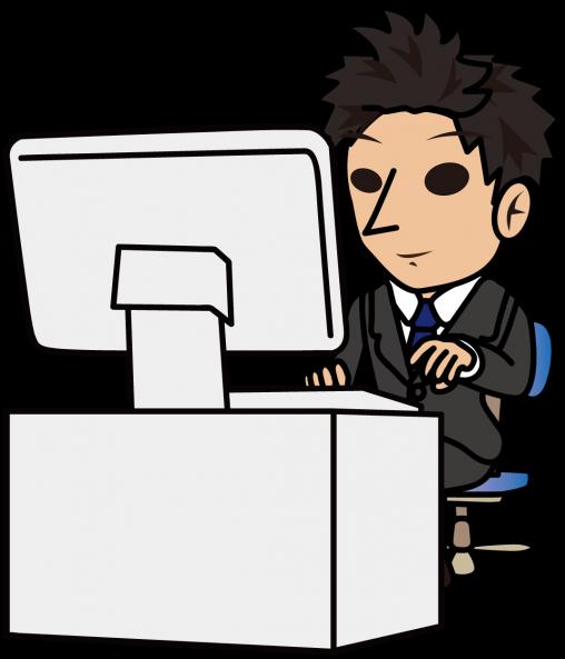 笑顔でパソコン入力するビジネスマン「とびぃ」