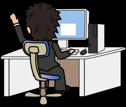 パソコン入力しながら手を挙げて同僚を呼ぶビジネスマン「とびぃ」