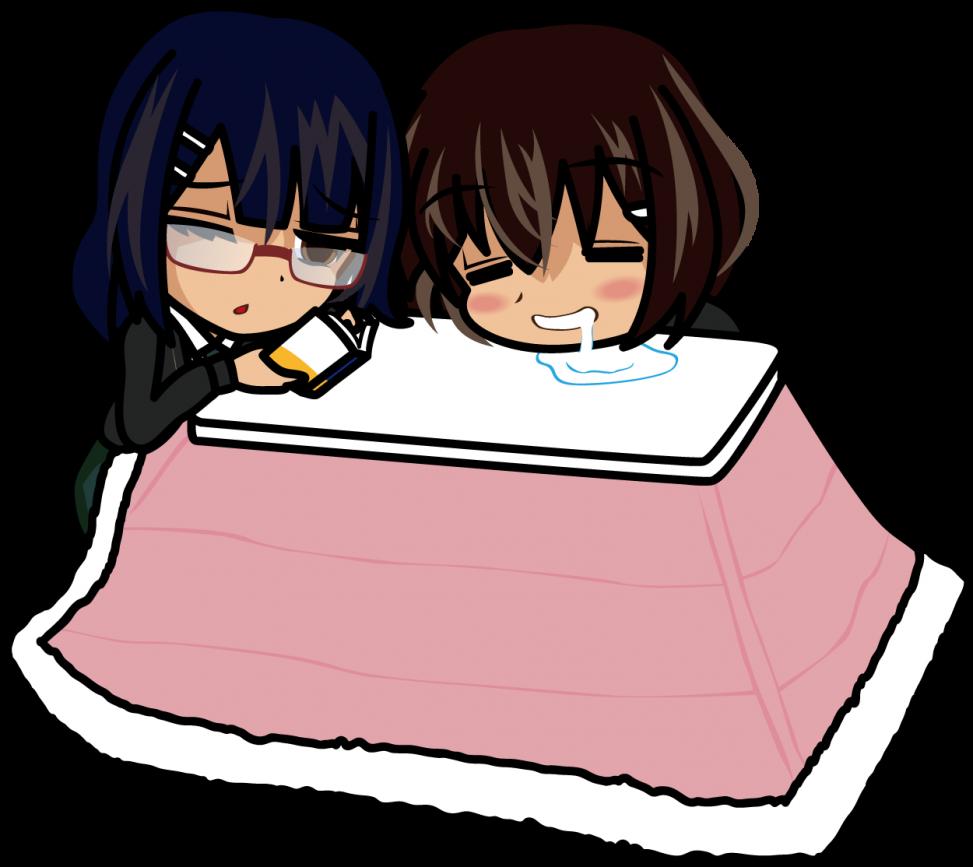 こたつで涎を垂らしながら寝る姉と眠気を我慢する妹「あーたむ×みーたむ」