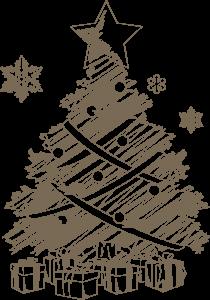 落書き風のクリスマスツリー