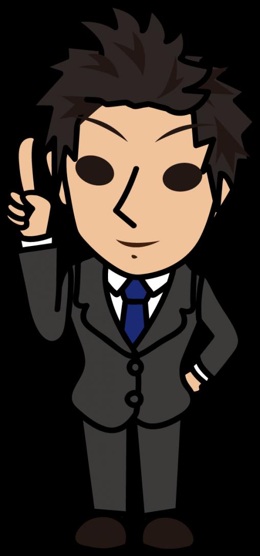 自信あり気に人差し指を立てて説明するビジネスマン「とびぃ」