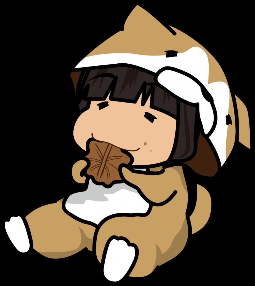 もみじ饅頭を食べる柴犬の着ぐるみの女の子「座敷あらし」
