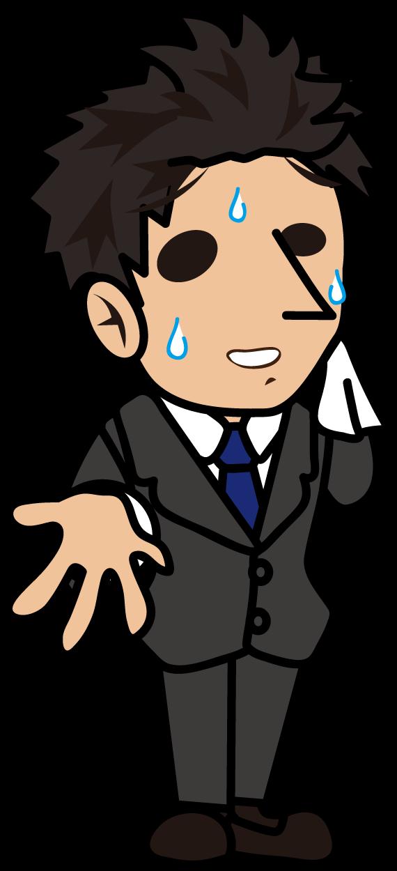 汗を拭きながら説明するビジネスマン「とびぃ」