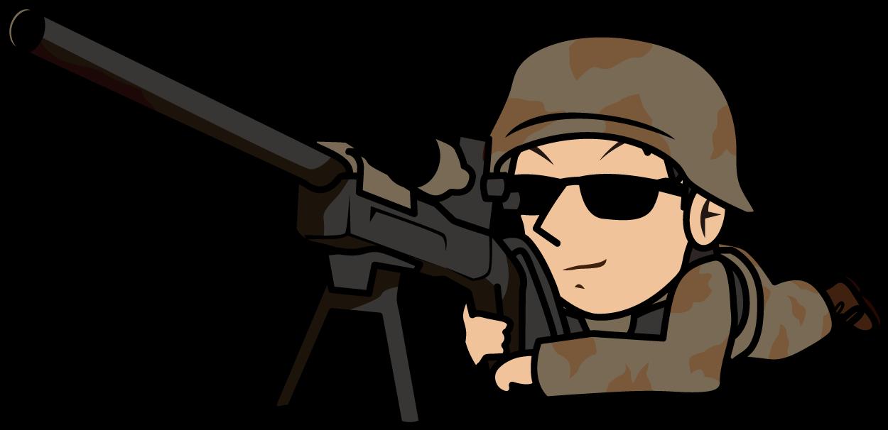 スナイパーライフルを構える狙撃兵のイラスト素材 とびぃ Vegl