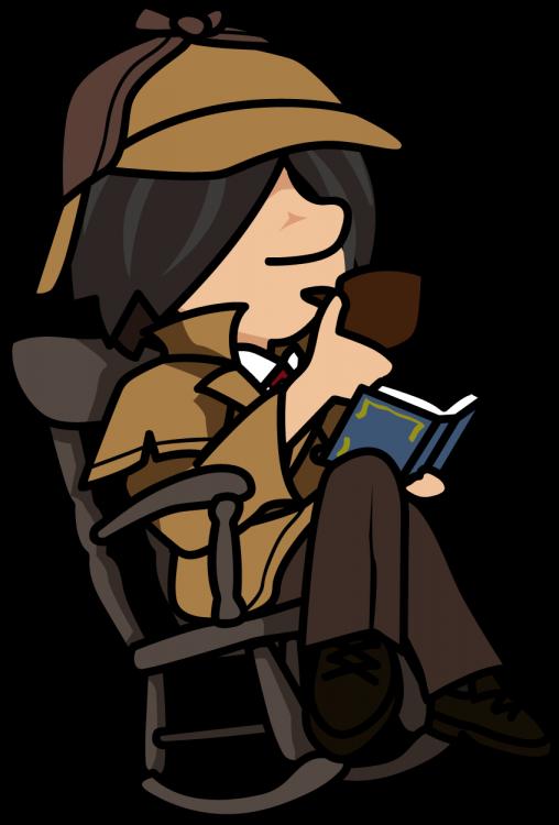 ロッキングチェアに座ってパイプをふかしながら読書する探偵「はたさん」