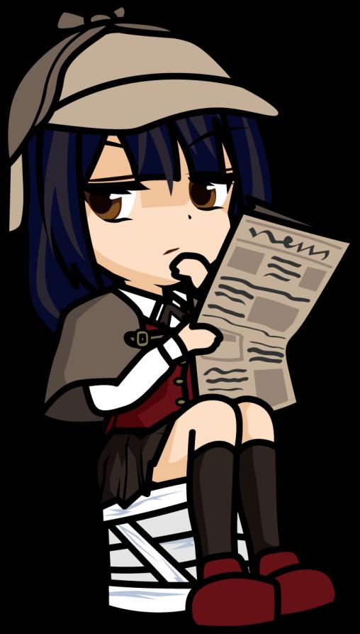 木箱に座って新聞を読むフリをする探偵の女の子「みーたむ」